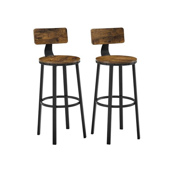 Set of 2 Bar Chairs Retro Adjustable Seat Height Kitchen Chairs with Stable Metal Frame and Velvet Cover Light Grey LJB071G02 Easy to Assemble Footrest SONGMICS Bar Stool