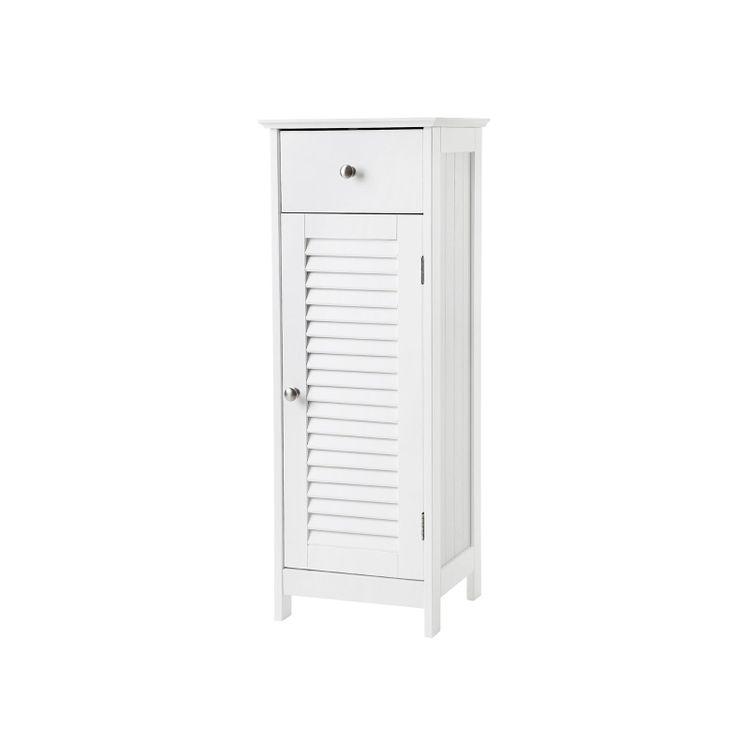 White Narrow Floor Standing Cabinet for Bathroom