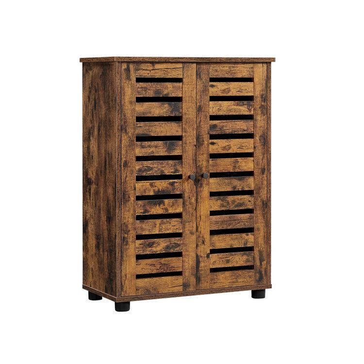 Brown Storage Cabinet with Adjustable Shelves