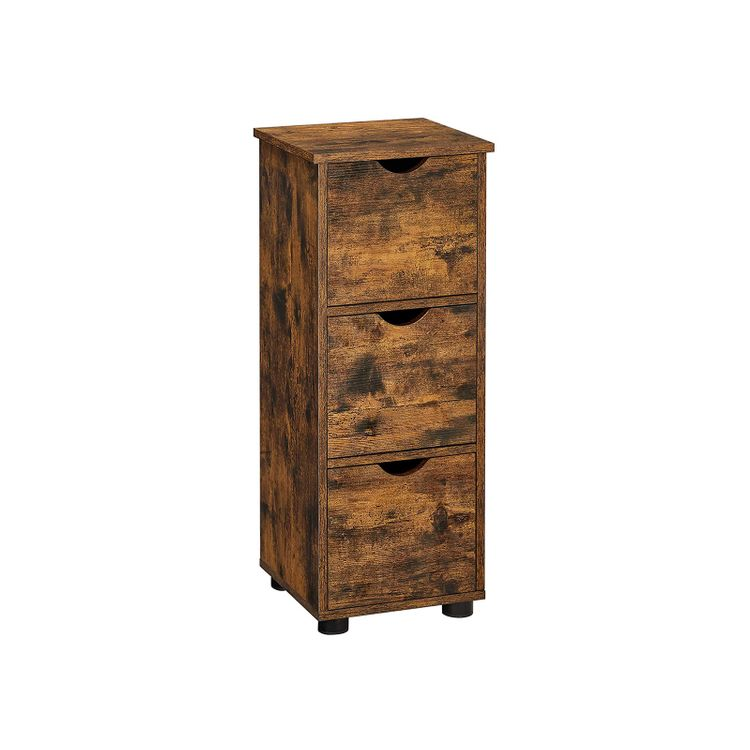 Rustic Brown 3 Drawers Storage Cabinet for Bathroom
