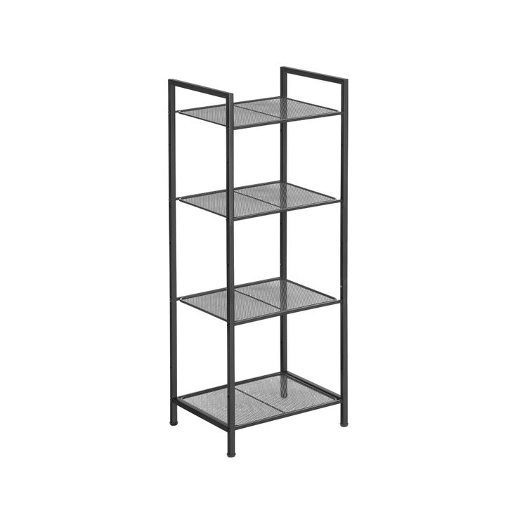 Black 4-Tier Storage Unit with Adjustable Shelves