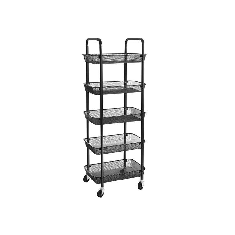 5-Tier Metal Storage Cart Black
