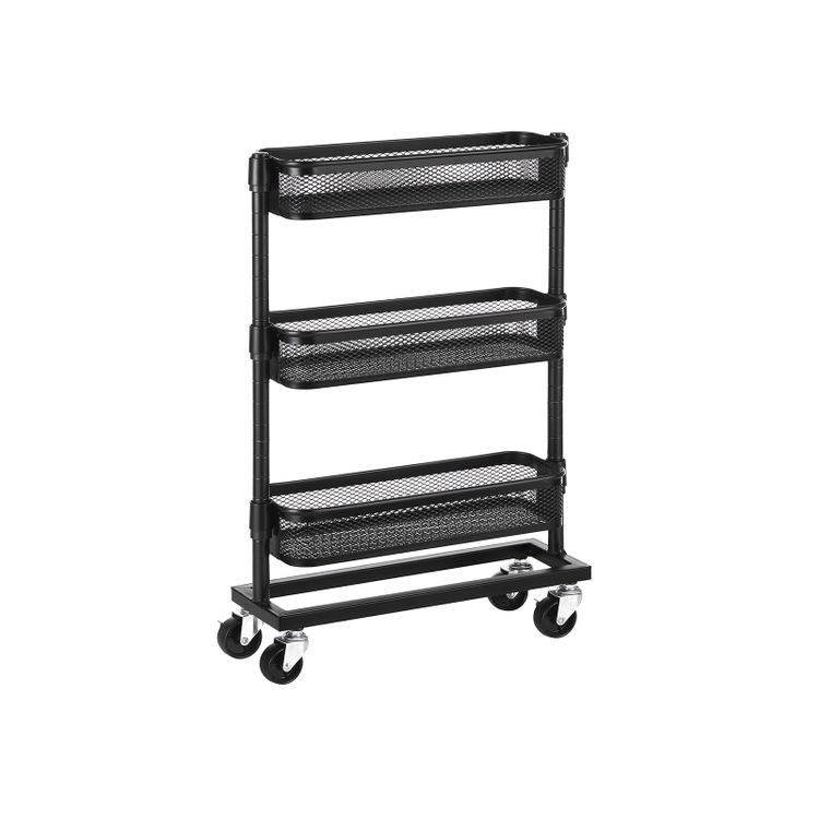 Slim Storage Cart Black