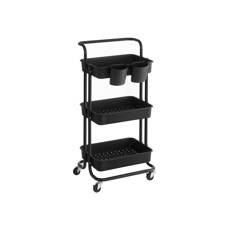 3-Tier Storage Cart Black