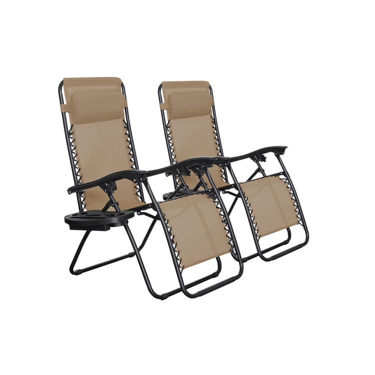 Set of 2 Beige Patio Lounges Chairs