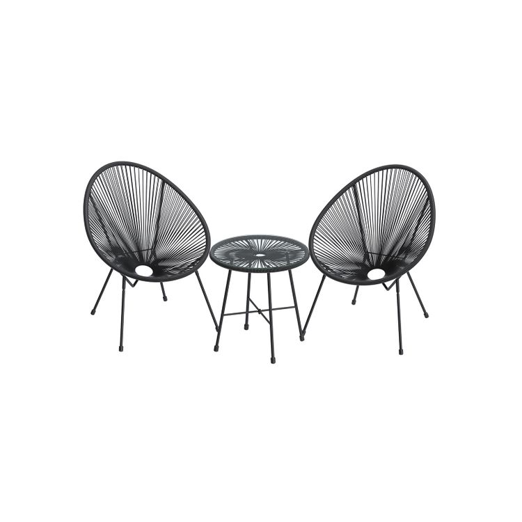 Black 3-Piece Outdoor Acapulco Chair