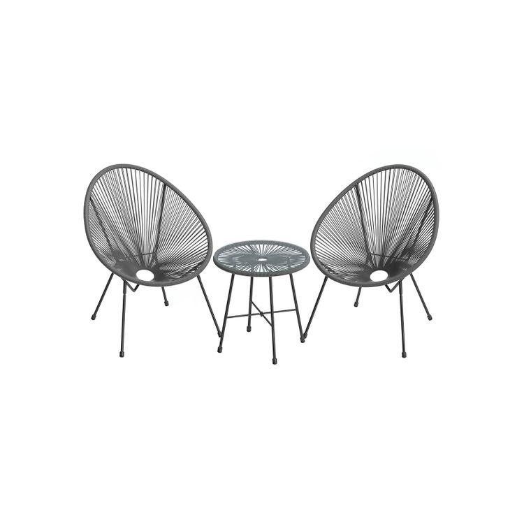 Gray 3-Piece Outdoor Acapulco Chair