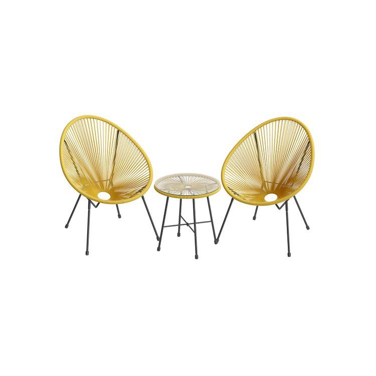 Yellow 3-Piece Outdoor Acapulco Chair