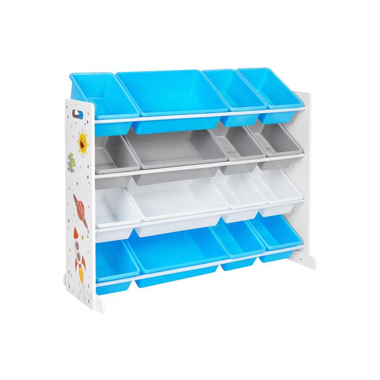 White Toy Storage Unit with Removable Bins