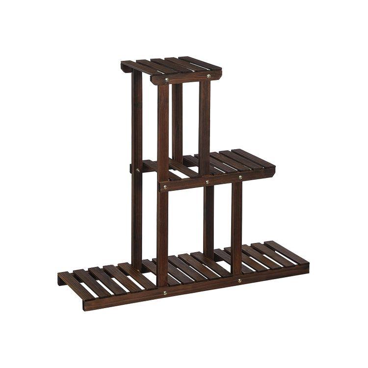 3-Tier Indoor Plant Shelf Rustic Dark Brown