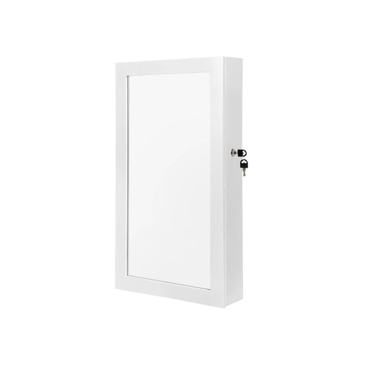 White Wall-Mounted Jewelry Armoire with Mirror