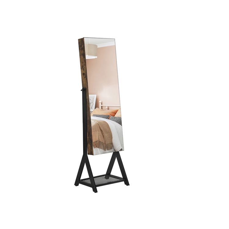Brown and Black Jewelry Cabinet with Mirror