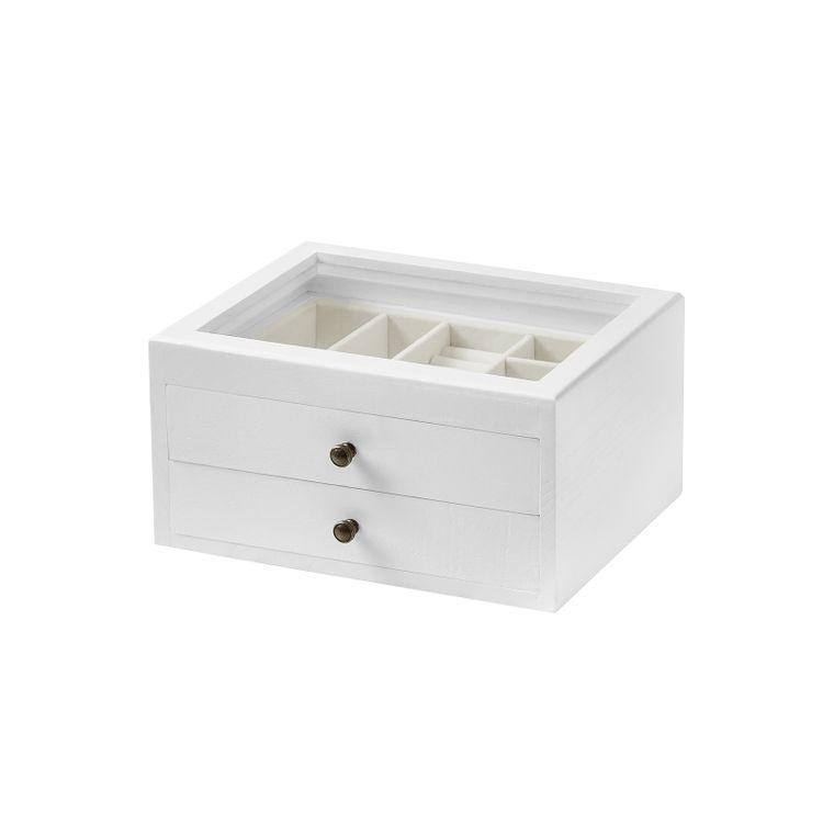 2-Tier Wooden Jewelry Case White
