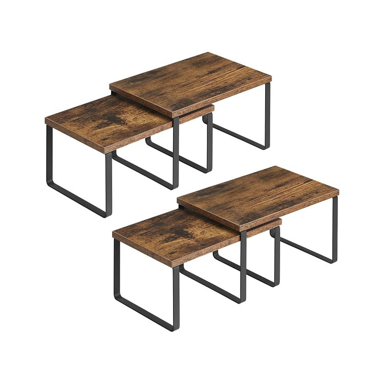Set of 4 Brown Counter Organizer Shelves for Kitchen