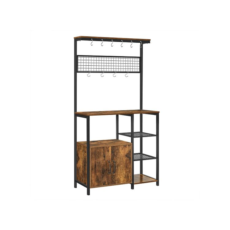 Industrial Brown Kitchen Baker's Rack with Cabinet