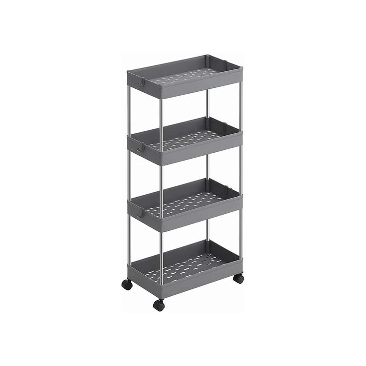 Gray 4-Tier Slim Rolling Cart for Storage