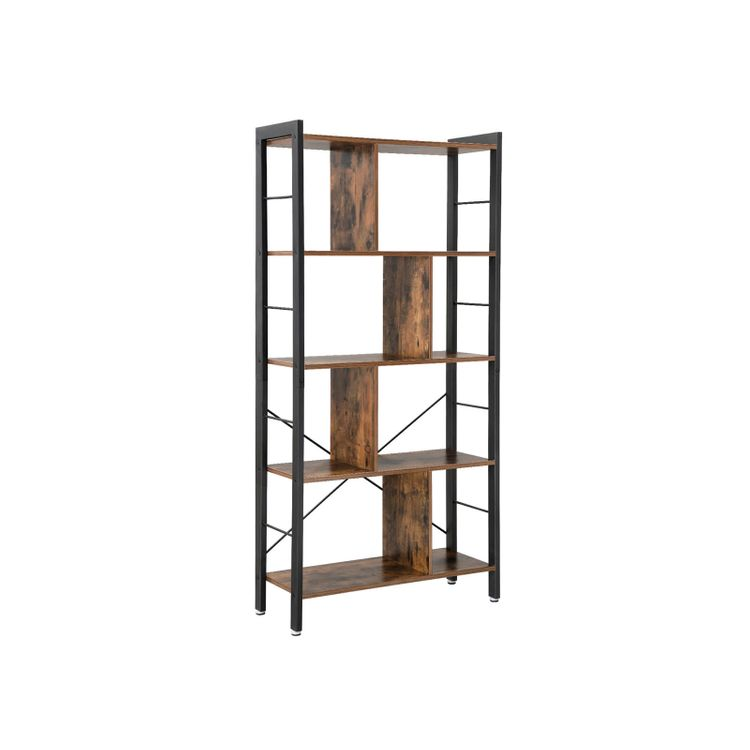 4 Tier Industrial Bookshelf Rustic Brown & Black
