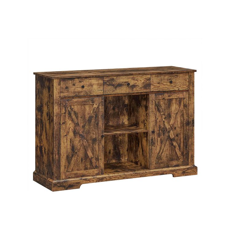 Rustic Brown Freestanding Storage Cupboard with Drawers