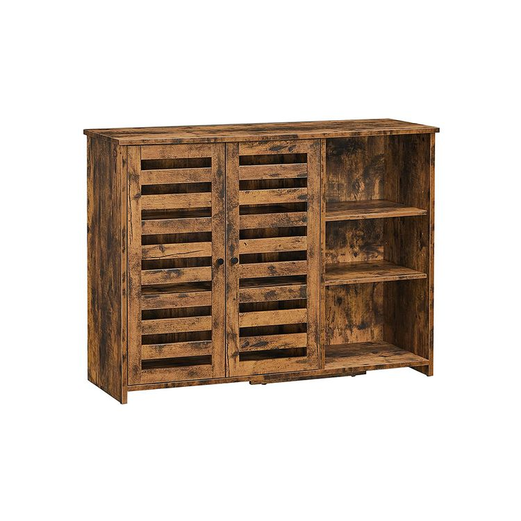 Brown Kitchen Buffet Sideboard with Shelves