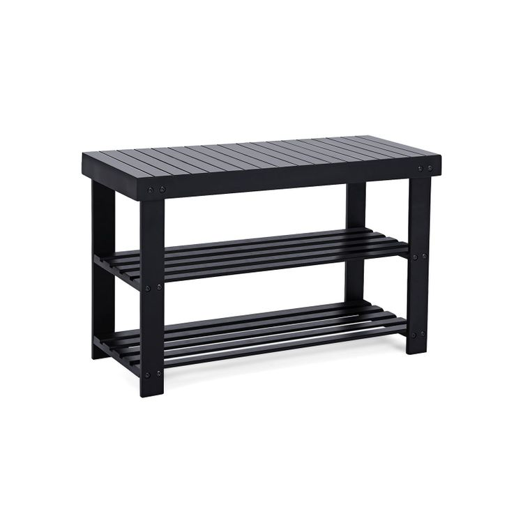 Black Bamboo Shoe Bench with Shelves
