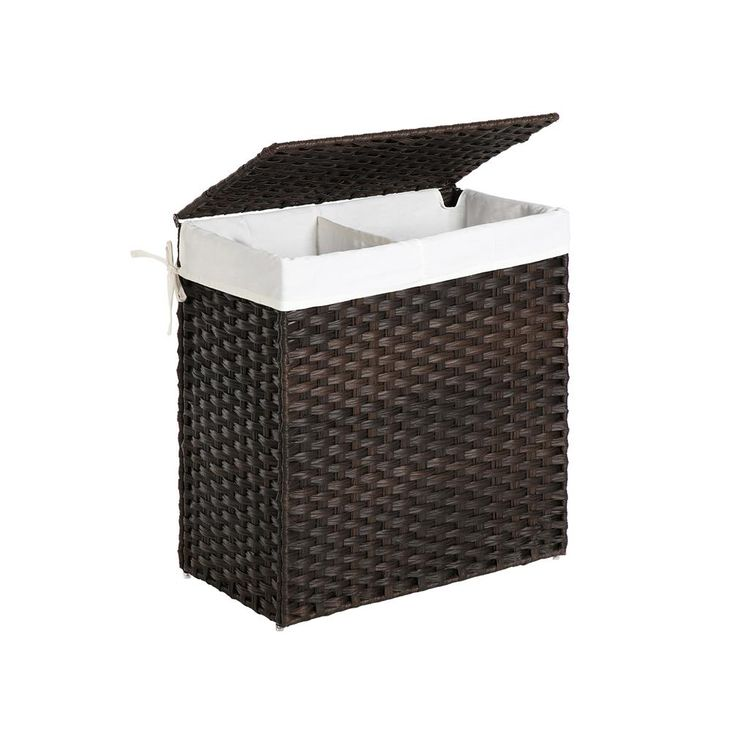 Brown Laundry Hamper with Lid & Divider