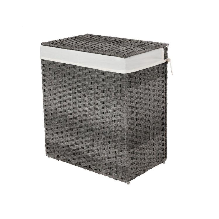 Gray Handwoven Double Laundry Hamper