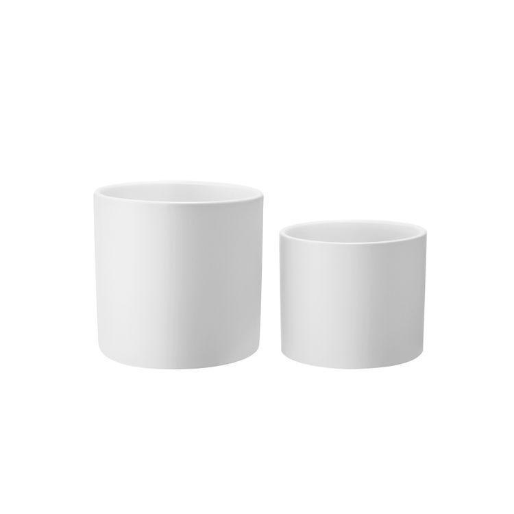 Set of 2 Plant Pots White