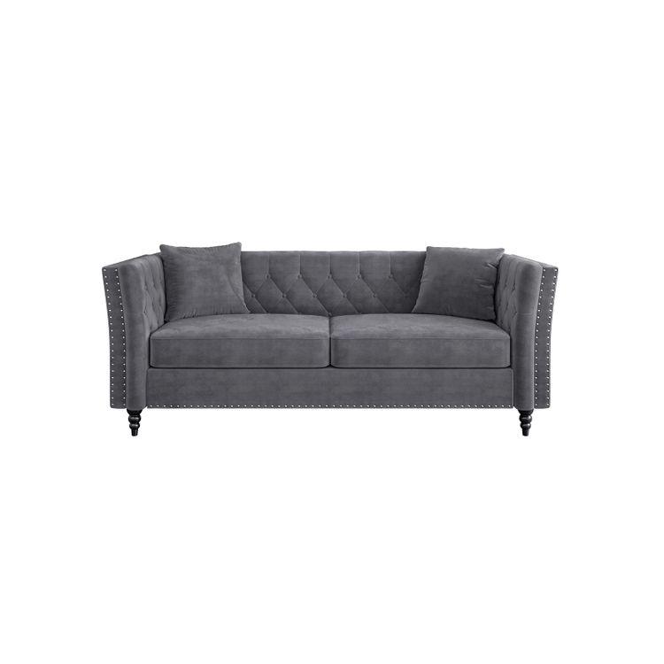 Chesterfield Velvet Couch Gray