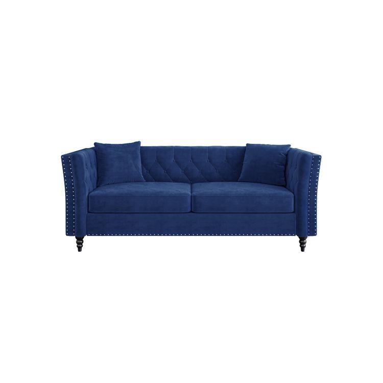 Chesterfield Velvet Couch Blue