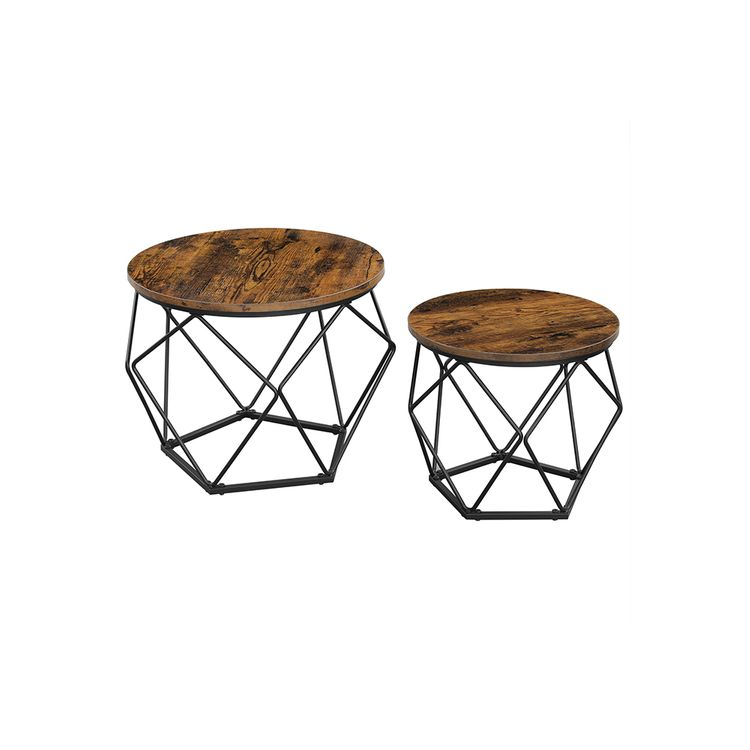 Nesting Table Set of 2 Rustic Brown and Black