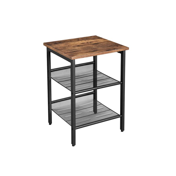 Industrial Side Table with 2 Adjustable Shelves