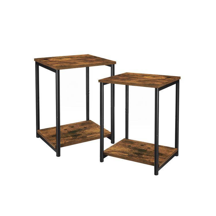 Set of 2 Industrial Rustic Brown & Black End Tables