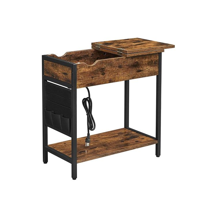 Industrial Brown Side Table with Power Outlet