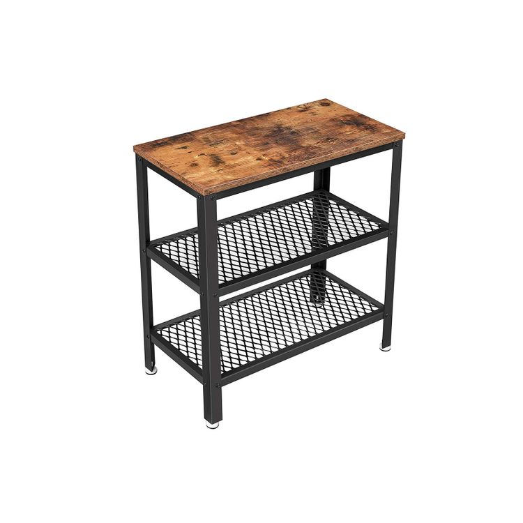 Industrial Brown Side Table with 2 Shelves