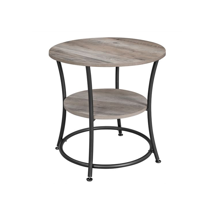 Round End Table with 2 Shelves