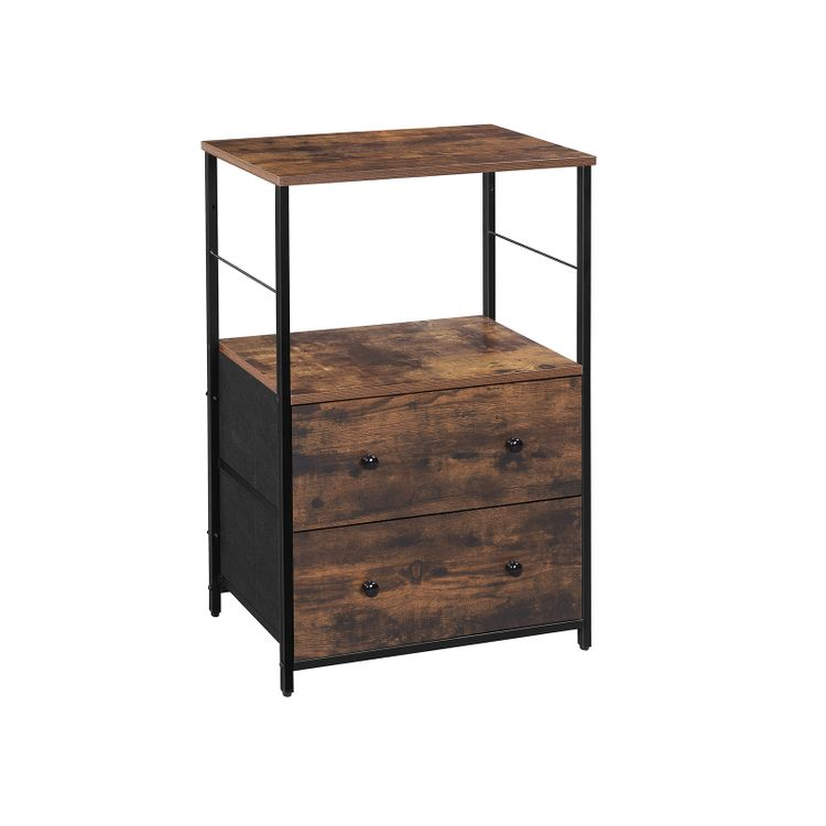 Nightstand Rustic Brown and Black