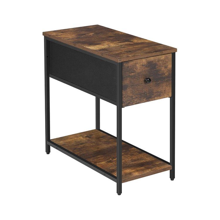 End Table Rustic Brown and Black
