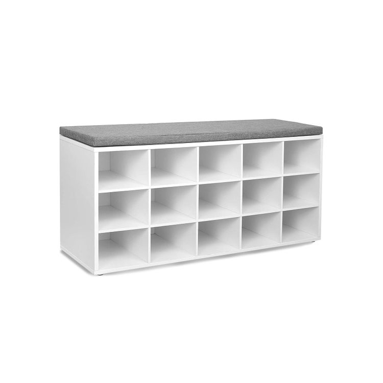 White Shoe Storage Bench with 15 Cubes