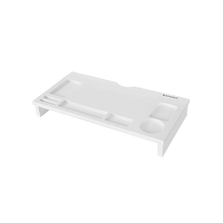 White Bamboo Monitor Riser for Computer Desk