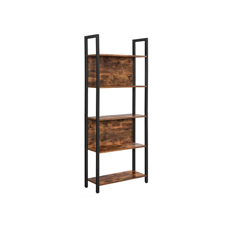 Industrial Rustic Brown & Black 5-Tier Bookshelf