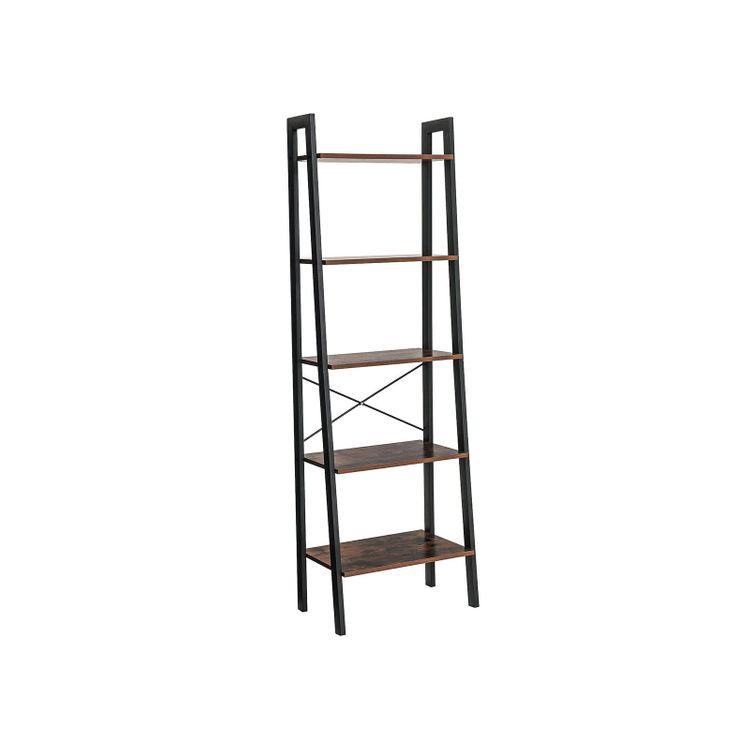 5 Tiers A-shaped Ladder Storage Shelf Rustic Brown
