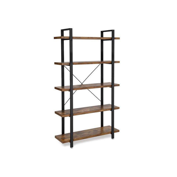 Industrial 5-Layer Bookshelf Rustic Brown & Black