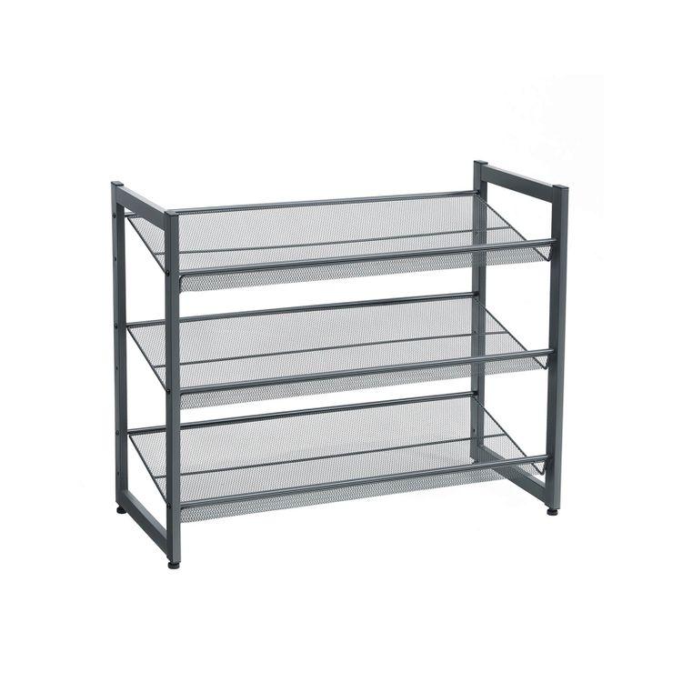 Gray 3-Tier Metal Shoe Storage Rack