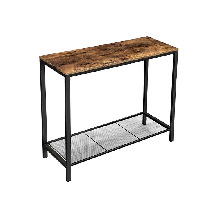 Industrial Console Table with Shelf Rustic Brown
