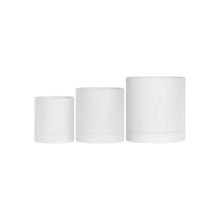 Set of 3 Plastic Planters White