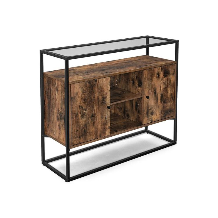 Rustic Brown & Black Industrial Cabinet with Glass Top