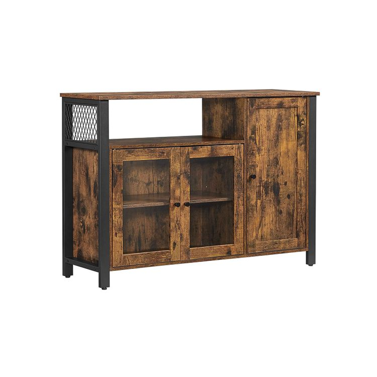 Industrial Brown Buffet Table with Cabinet