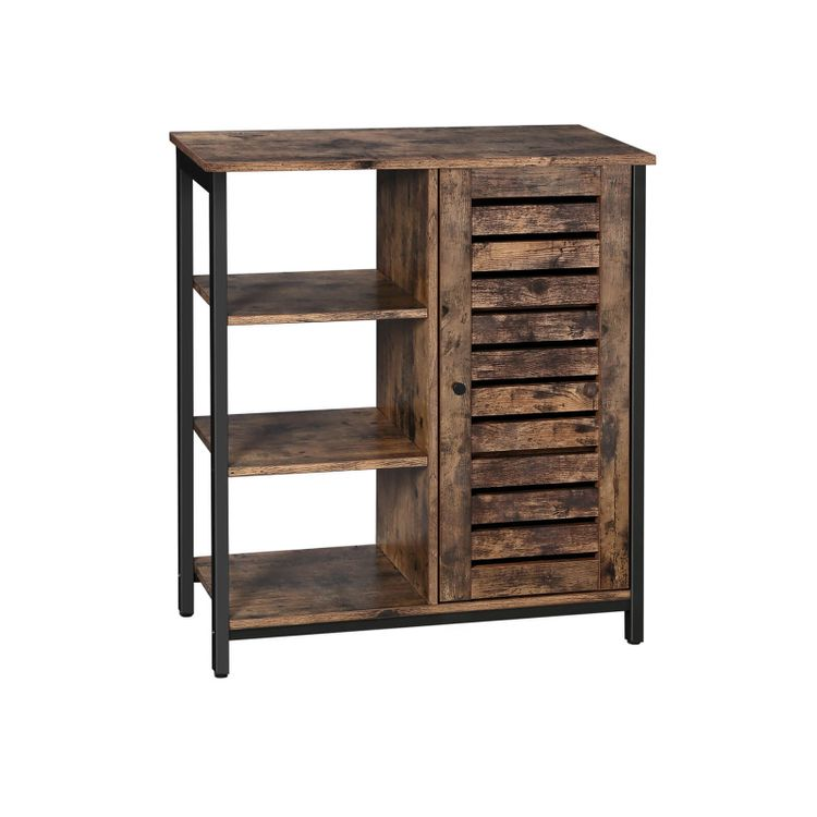 Industrial Rustic Brown Storage Cabinet With 3 Shelves