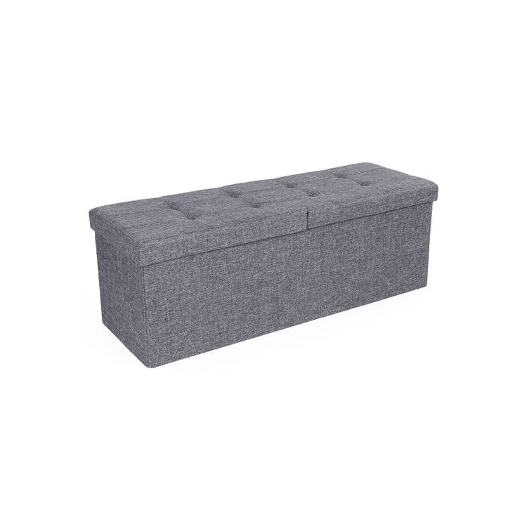 Grey Storage Ottoman Bench with Fabric Surface
