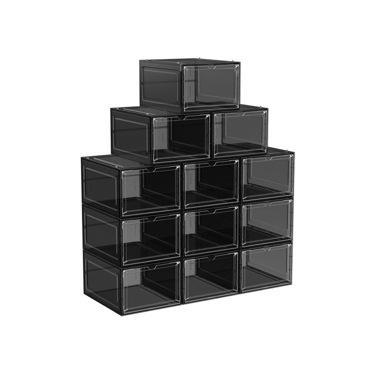 Set of 12 Black Shoe Boxes with Doors